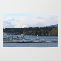 vancouver Area & Throw Rugs featuring Vancouver Harbour by RMK Creative