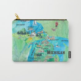 Michigan USA State Illustrated Travel Poster Favorite Tourist Map Carry-All Pouch