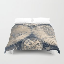 Antique World Map White Gold Navy Blue by Nature Magick Duvet Cover
