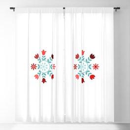 Scandinavian Style Flowers Teals & Reds Wheel Blackout Curtain