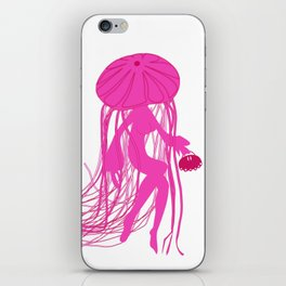 Pink Meanie Jellyfish Pinup iPhone Skin