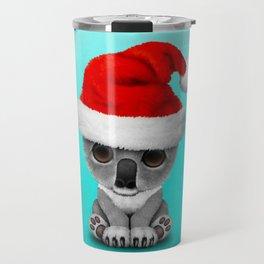 Christmas Koala Wearing a Santa Hat Travel Mug