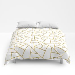 Gold and White Abstract Geometric Glitter Pattern Comforters