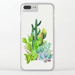 Cactus Garden II Clear iPhone Case