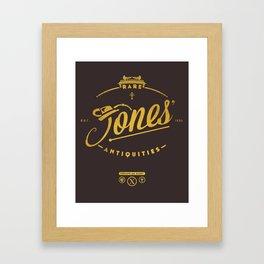 """""""Jones' Rare Antiquities"""" - gold version Framed Art Print"""