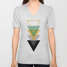 FIVE GEOMETRIC ABSTRACT HOLLOW PYRAMIDS TRIANGLE Unisex V-Neck