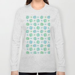 Trendy modern turquoise teal cute cactus pattern Long Sleeve T-shirt