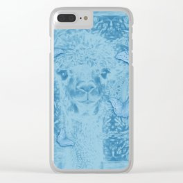 Ghostly alpaca with butterflies in snorkel blue Clear iPhone Case