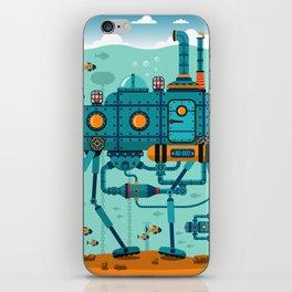 Cute Colorful Robot Underwater Scene iPhone Skin
