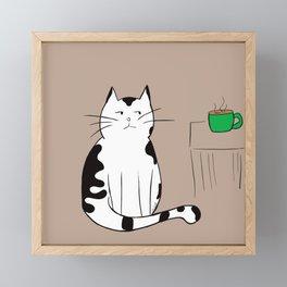 Java the Coffee Cat Framed Mini Art Print