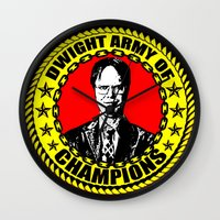 dwight schrute Wall Clocks featuring Dwight Schrute (Dwight Army Of Champions) by Silvio Ledbetter