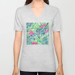 Lush Tropical Fronds & Hibiscus Unisex V-Neck