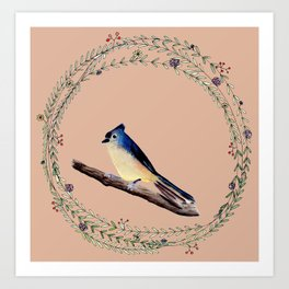 Watercolor Bird with Whimsical Wreath1 Art Print