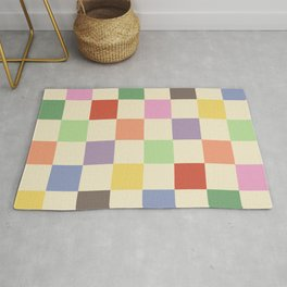 Colorful Checkered Pattern Rug