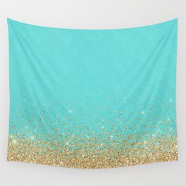 Sparkling gold glitter confetti on aqua teal damask background Wall Tapestry