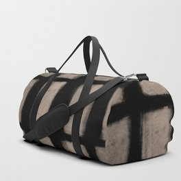 Brush Strokes Vertical Lines Nude on Black Duffle Bag