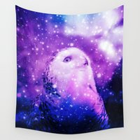 celestial Wall Tapestries featuring Celestial Owl  by Alaskan Momma Bear