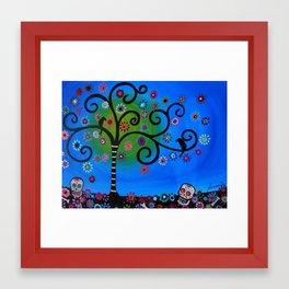 Dia de los Muertos Black Crows Tree Painting  Framed Art Print