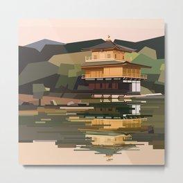 Geometric Kinkakuji, Golden Pavilion Kyoto Japan Metal Print