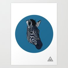 Wild Rectangular Zebra Art Print