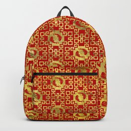 Luxury Oriental Gold on Red Koi Fish Pattern Backpack