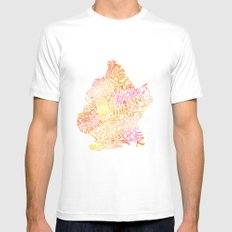 Typographic Brooklyn - Orange Watercolor map art White Mens Fitted Tee MEDIUM