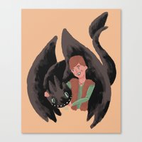 hiccup Canvas Prints featuring Hiccup & Toothless by Adam Vass