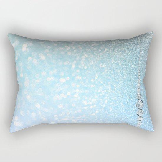 Diamonds are girls best friends I - Blue mermaid glitter texture Rectangular Pillow