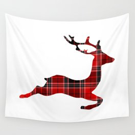 Plaid Reindeer (Color) Wall Tapestry