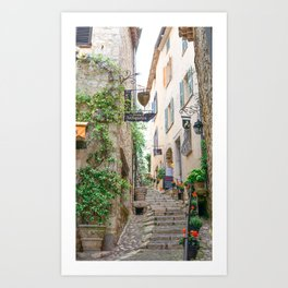 French Alley Light - Stairs through cute brick houses with blue shutters | Travel photography in France, Europe Art Print