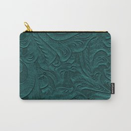 Deep Teal Tooled Leather Carry-All Pouch