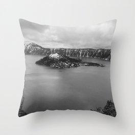 Mountain Lake View B&W Throw Pillow