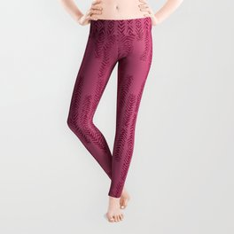 Eye of the Magpie tribal style pattern - raspberry red Leggings