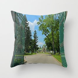Calvary Cemetery Gate II Throw Pillow