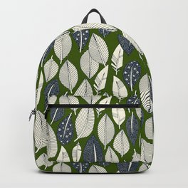 leaves and feathers green Backpack