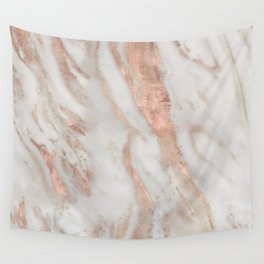 Civezza rose gold marble quartz Wall Tapestry