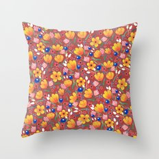 Orange Flowers 2 Throw Pillow
