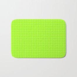 Green Grid White Line Bath Mat