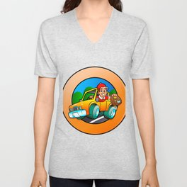 Cartoon man in delivery car Unisex V-Neck