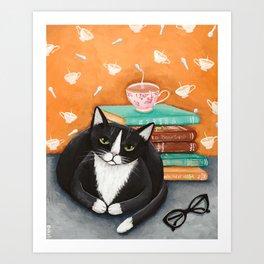 Cats, Tea, and Books Art Print