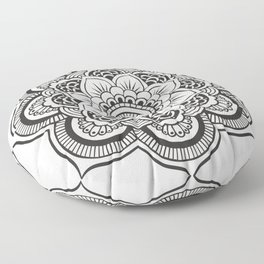 Mandala White & Black Floor Pillow