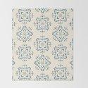Portuguese tile style ornamental pattern - blue on cream by brankapd