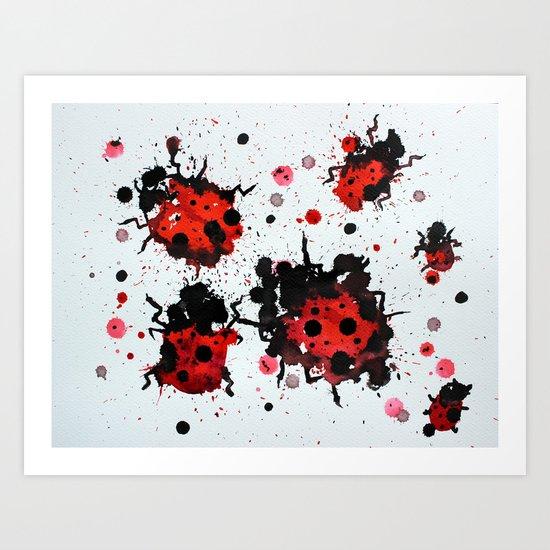 Splattered bugs Art Print