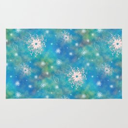 Blues Rainbow Florals Rug