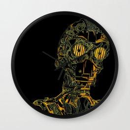 Geometric Black and Gold Robot Wall Clock
