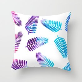 Ice-Dyed Palms Throw Pillow