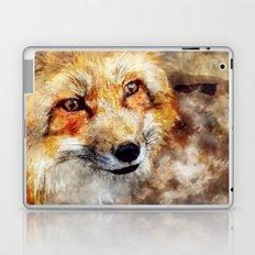 Fox animal nature wild forest-  watercolor illustration Laptop & iPad Skin