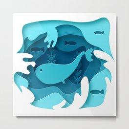 Blue Whale 3D Metal Print