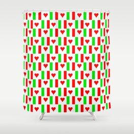 Flag of Italy with heart - Italy,Italia,Italian,Latine,Roma,venezia,venice,mediterreanean,Genoa,fire Shower Curtain