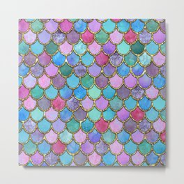 Colorful Gold Mermaid Scales Metal Print